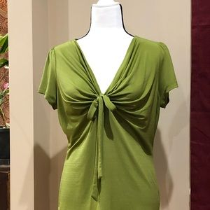 East 5th Olive Green Tie Front Top Size M
